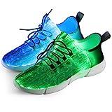 Fiber Optical Schuhe,LED Schuhe 7 Farben 4 Mods USB Wiederaufladbare Leuchten Schuhe Super Lightweight LED Sneaker für Männer und Frauen