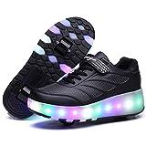 Nonbrand Junge Mädchen Schuhe Kinderschuhe mit Rollen LED Leuchtend Doppelrad schuheltraleicht Outdoor Schuhe 7 Farbe Farbwechsel Rädern Gymnastik Sneaker