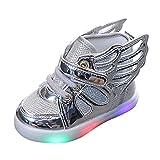 Unsex Mary Jane Sneaker Lauflernschuhe mit LED-Lichtleuchte Prinzessin Schuhe Kinder Sandalen Partei Schuhe Kostüm Zubehör Karneval Verkleidung Party Aufführung Fasching Tanzball (Silber, 23)