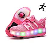 Sunflower LED Leuchtschuhe Kinder Skateboard Schuhe Rollschuh Schuhe Unisex Kids LED Schuhe Mit Verstellbaren Automatikrädern Sneakers Für Jungen Mädchen,A-39