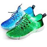 Fiber Optical Schuhe,LED Schuhe 7 Farben 4 Mods USB Wiederaufladbare Leuchten Schuhe Super Lightweight LED Sneaker für Männer und Frauen, Led Sneaker, 44 EU